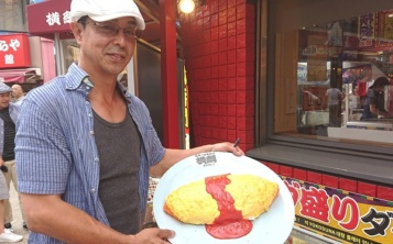 Production of food replica began with the creation of model omelet