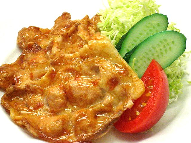 A replica of pork, baked in ginger sauce