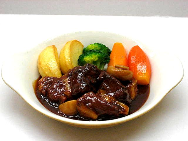 Replica of beef, baked with mushrooms