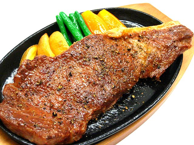Replica of baked marbled beef with black pepper