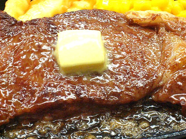 Replica of baked Japanese marbled beef with butter