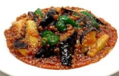 Муляж блюда «Жареные баклажаны с перцем»