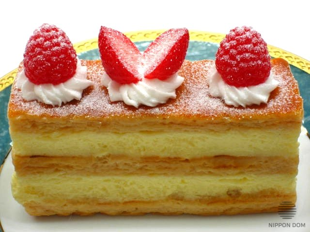 A replica of Mille-Feuille cake with strawberry and raspberry