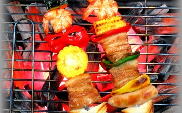 Kebab replica on the grill with artificial coals