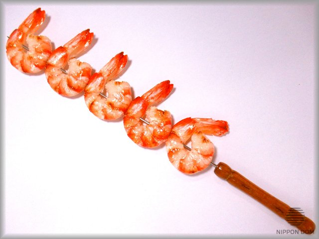 Kebab replica with shrimps