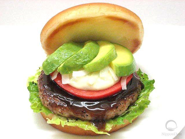 Муляж гамбургера с авокадо