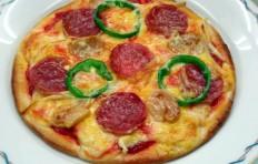 Муляж пиццы с салями и грибами (17 см)